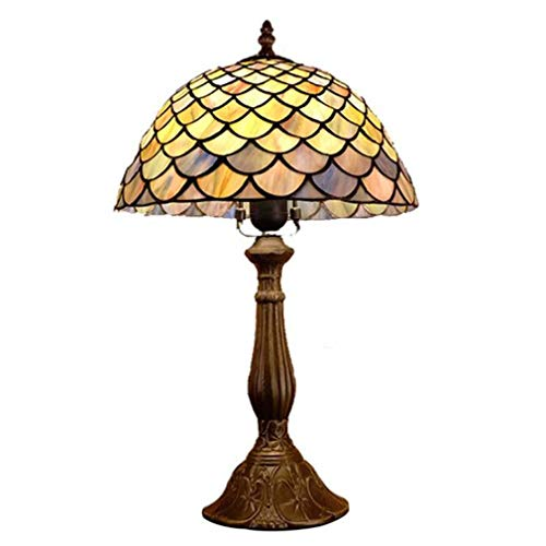 Tiffany Style Table Lamp Bedside Lamp Set,12-Inch Fish Scale Design Stained Glass Desk Lamp, for Bedroom Living Room Coffee Dining Room, E27, 110-240V