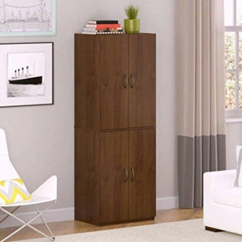 4-Door Adjustable Shelves Storage Cabinet Pantry, Alder