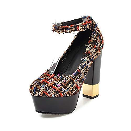 Femme Sangle 2018 32 Plus Hauts Plateforme Boucle 43 Talons Chunky Hoesczs Escarpins Chaussures Taille Black La Femmes Nouveau pq1a8wa