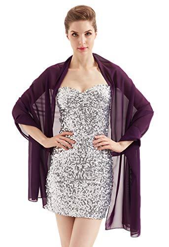 Alivila.Y Fashion Womens Bridal Evening Scarf Shawl-Dark Purple Chiffon ()