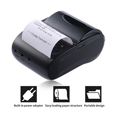 ter, ACEHE 58mm Bluetooth Mini Portable High Speed Direct Thermal Printer, Printing Compatible with ESC / POS Print Commands Set ()