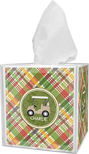 YouCustomizeIt Golfer's Plaid Tissue Box Cover (Personalized) -