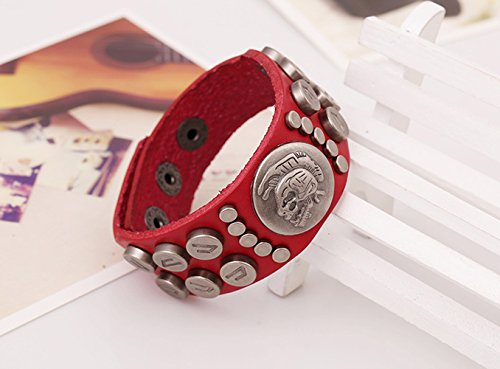 [Lover Bracelet Of The November Nocturne Unisex Wrap Leather Multi Metal Rivet Punk wide Unisex Red] (Homemade Punk Rock Costumes)