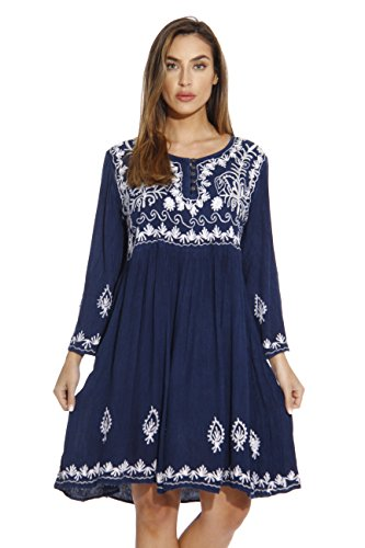 Riviera Sun Tunic Dresses for Women - Embroidered Pleated Hem Skirt