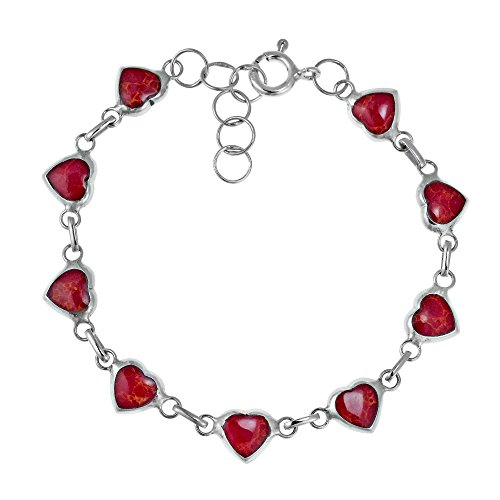 AeraVida Love All Around Heart Reconstructed Red Coral Inlay .925 Sterling Silver Link Bracelet ()