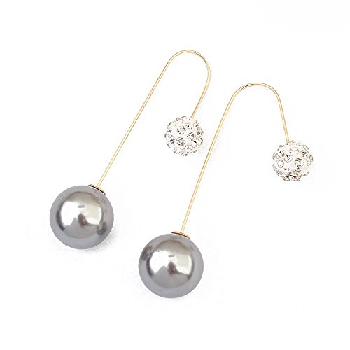 Winter's Secret Elegant Delicate Two Sided Bead Ears Hang Rhinestone Accented Lady Earring