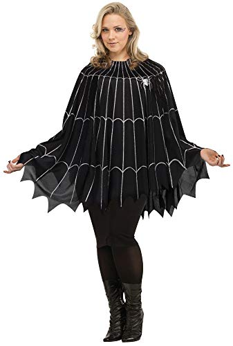 Fun World Women's Spider Web Poncho Plus Size Costume, Multi, Standard -