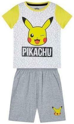 Vanilla Underground Pokemon Pikachu Face Grey Yellow Boys Kids Short Pyjamas Nightwear Set