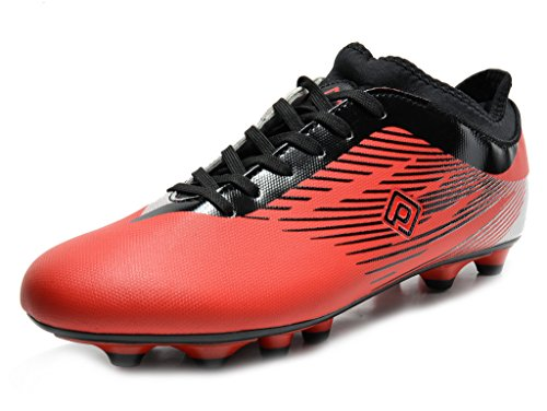 DREAM PAIRS 160861 Men's Sport Flexible Athletic Lace Up Light Weight Outdoor Cleats Football Soccer Shoes Red Black Silv Size 10