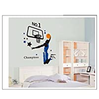 Baketball No.1 Champions Sports Star Etiqueta de la pared Tatuajes de pared Decoración de la pared Wallpaper para niños Habitación de los niños Decoración infantil