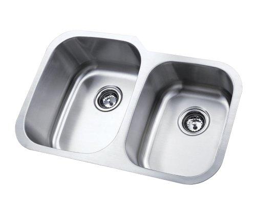 Kingston Brass KU32219DBN 18 Gauge 31-1/2-Inch-by-20-1/2-Inch-by-9-Inch 7-Inch Double Bowl Stainless Steel Undermount Kitchen Sink