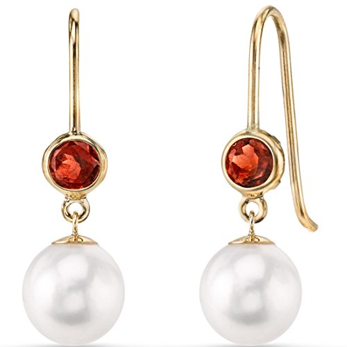 14K Yellow Gold Freshwater Cultured Pearl and Garnet Earrings