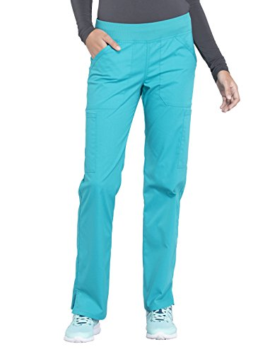 - Cherokee WW Professionals WW170 Mid Rise Straight Leg Pull-On Pant Teal Blue S Petite