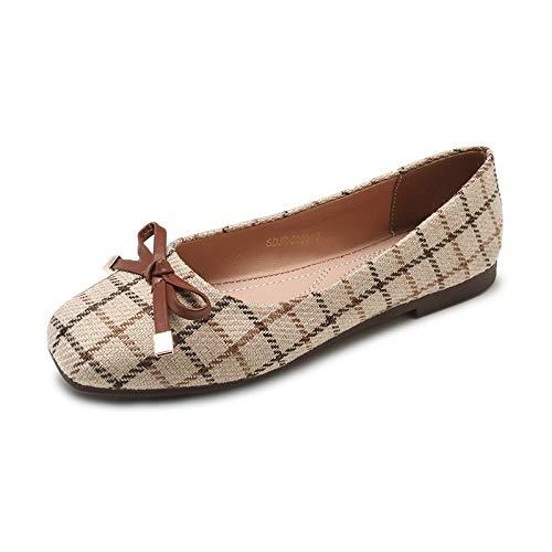 FLYRCX Zapatos Planos de Tela Escocesa de Primavera y otoño Zapatos Solos Zapatos de Trabajo cómodos Antideslizantes de Arco Dulce B