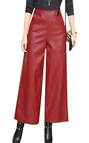 SYTX Womens Winter High Waist Faux PU Leather Wide Leg Palazzo Pants Wine Red XS