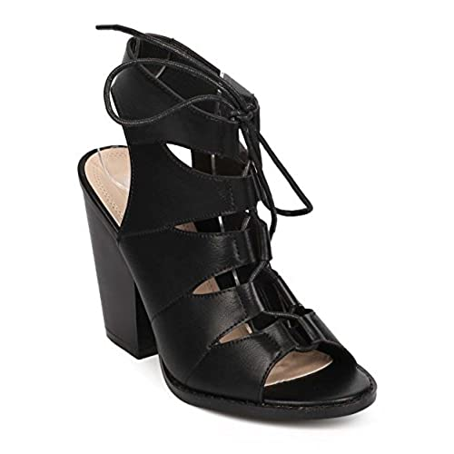 hot Women Leatherette Peep Toe Gilly Tie Block Heel Sandal EB11