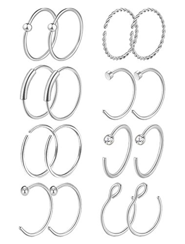Masedy 16Pcs 20G 316L Stainless Steel Nose Rings Hoop Tragus Cartilage Helix Ring Lip Septum Piercing Silver 8MM