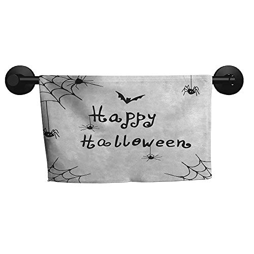 Sanring Spider Web,Personalized Towels Happy Halloween Celebration Monochrome Hand Drawn Style Creepy Doodle Artwork Gym Towels for Women W 10