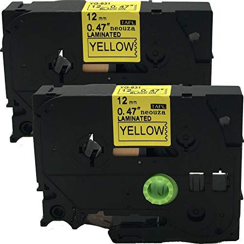 2PK Black on Yellow Label Tape Compatible for Brother TZ TZe 631 TZe-631 TZ-631 12mm P-Touch 8m ACD.auto