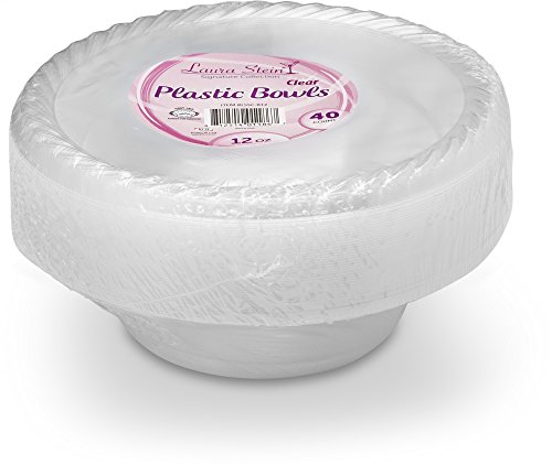 Laura Stein Elegant 12 oz Disposable Clear Soup Size Plastic Bowls 1 Pack (40 Bowls) -