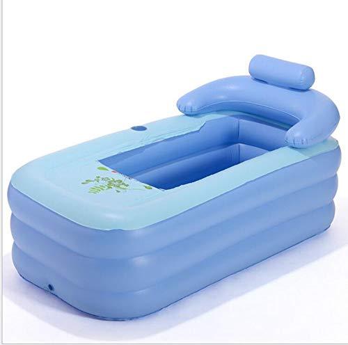 ZYH Inable bathtubpvc adult inable bathtub baby swimming pool collapsible sponge bottom antislip bathtub (Color : Blue)