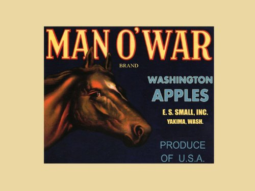 Apple Crate Label Art - Thoroughbred Horse Man O'War Yakima Washington Apples Produce in America USA Fruit Crate Label Vintage Poster Repro 12