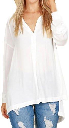 Las Mujeres Tops Fashion Cuello en V Gasa Camisa Casual ...