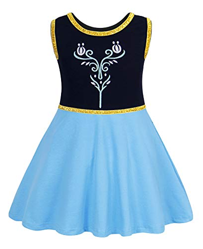 Cotrio Anna Dress Girls Princess Costume Toddler Sleeveless Fancy Dresses Kids Halloween Cosplay Party Outfit Clothes Size 10 (6-7 Years, Blue, 140)