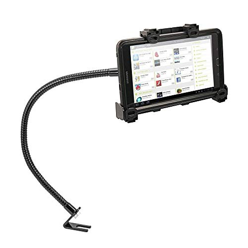 Tablet Car or Truck Mount, Premium Seat Bolt Key Lock Tablet Car Holder for Samsung Galaxy Tab 5 4 3 A E 5se (All 7-10 inch) w/Anti-Vibration 23 inch Gooseneck (with or Without case)