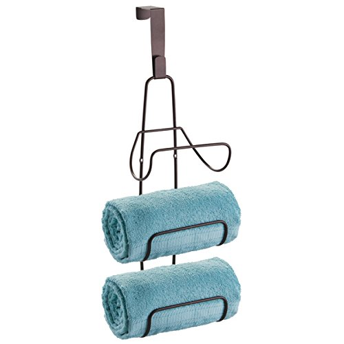 mDesign Wall Mount or Over Door Bathroom Towel Holder Bar - Bronze