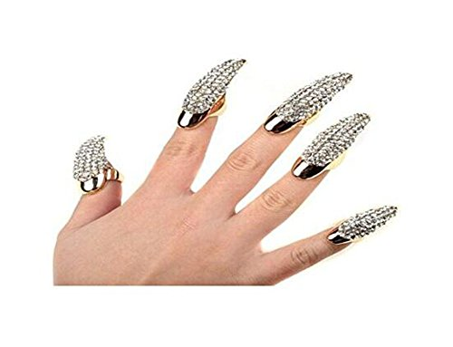 - Set of 5 Punk Style Eagle Claw Ring Gothic Jewelry False Nail Retro Clear Crystal Talon Finger Ring Knuckle Bend Fingertip Claw for Cosplay Paty (gold)