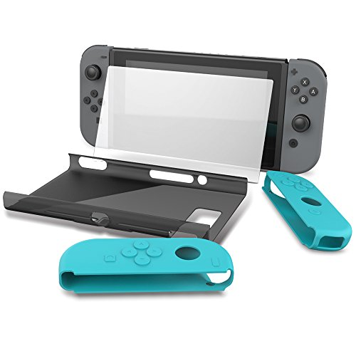 Collen Hard Back Protective Case Cover with Joy-Con Gel Guards and Tempered Glass Screen Protector for Nintendo Switch