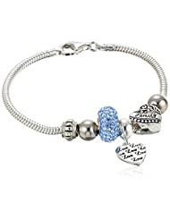 """CHARMED BEADS Sterling Silver Crystal """"Love"""" and """"Family"""" Bead Charm Bracelet"""