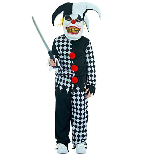 (Costumes Boys Scary Clown Killer Role Play Outfit Party Halloween Grim Buffon)