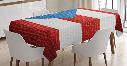 Lunarable Puerto Rico Tablecloth, Stripe Style Rows Pattern Grunge Arrangement with Patriot Flag, Dining Room Kitchen Rectangular Table Cover, 52 W X 70 L Inches, Blue Vermilion and White