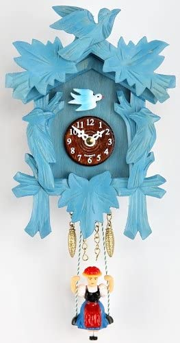 Trenkle Kuckulino Black Forest Clockwith Quartz Movement and Cuckoo Chime, Blue TU 2002 SQ Blau