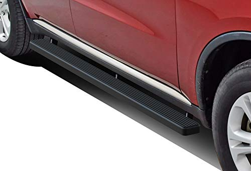 APS iBoard Running Boards (Nerf Bars | Side Steps | Step Bars) for 2011-2019 Dodge Durango Sport Utility 4-Door | (Black Powder Coated 4 inches)