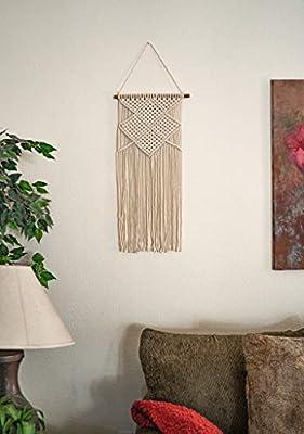 "16/"" W x 40/"" L Handmade Chic Bohemian Home Geometric Decor-Beautiful Boho Home Dorm Room Apartment Decoration 100/% Organic Cotton Vestaa Macrame Woven Wall Hanging"