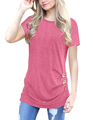Womens Short Sleeve Blouse Casual Round Neck Loose Tunic Tops Button Decor T Shirts (X-Large, Pink)