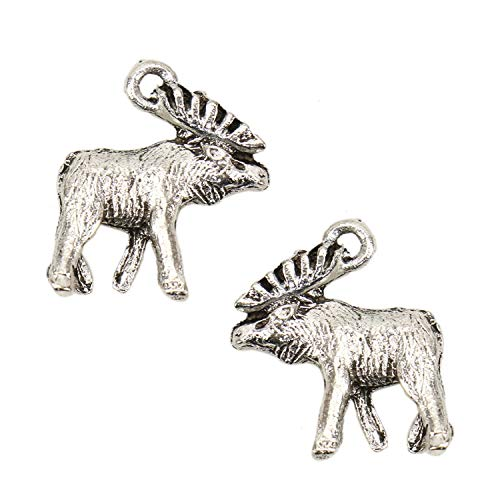 JETEHO 50pcs Alloy Moose Deer Charms Pendant Deer Charms for Necklace Jewelry Making
