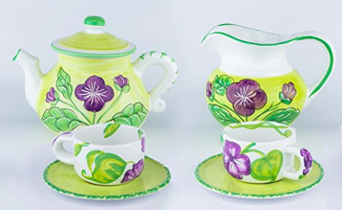 Starbucks Vintage Rare Tea Coffee Set for 2 Light Green Purple Flower Teapot Saucer Cup Pitcher HandMade in Italy