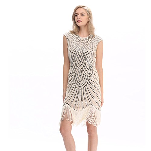 Pilot-trade Women's Vintage 1920s gatsby Look Flapper Swing Fringe Cocktail Party Dress XL