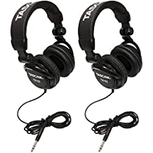 TASCAM TH-02B Foldable Recording Mixing Home Studio Headphones - Black (2 Pair)