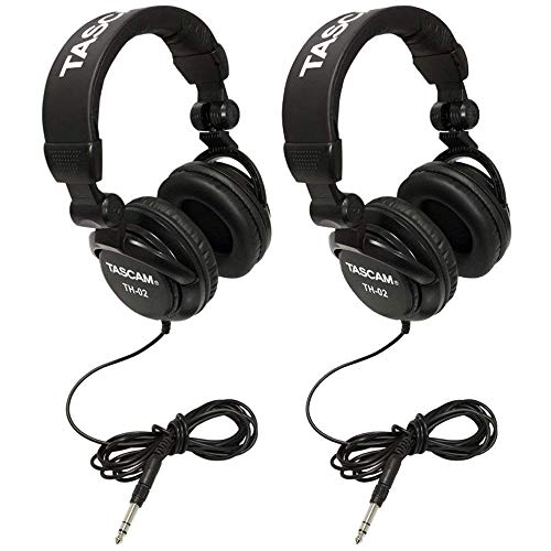 - TASCAM TH-02B Foldable Recording Mixing Home Studio Headphones - Black (2 Pair)