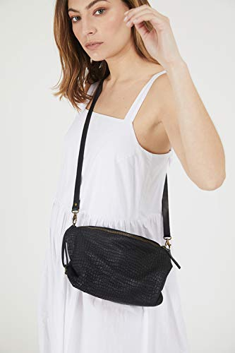 Everyday Genuine Soft Textured Black Snake Design Leather Slouchy Crossbody Purse