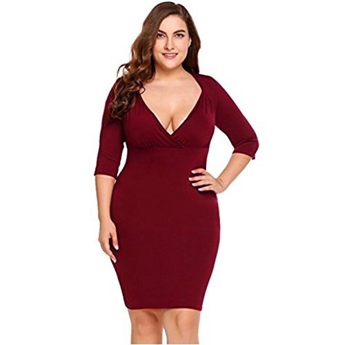 Price comparison product image Women Mini Dress Daoroka Women's Plus Size Sexy Deep V-Neck Bodycon Evening Party Club Casual Dress Long Sleeve Slim Fit Pencil Ladies Skirt New Fashion Solid For Fat Girl Women (2XL,  Red)