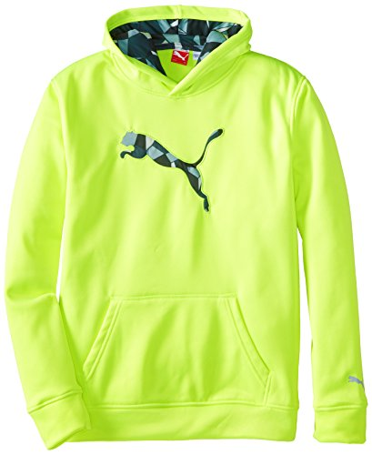 PUMA Boys' Big Cat Hoodie (Little Kid/Big Kid), Acid Yellow, (Yellow Kids Sweater)