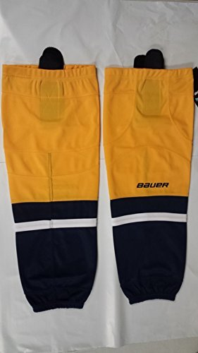 fan products of Bauer 800 Series Ice Hockey Sock, Gold w/ Navy & White, Senior S-M