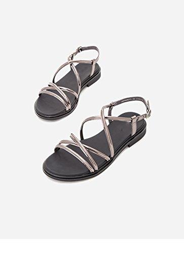 Sandali Tacchi Pantofole moda da alla basso tacco basso piatti 36 a alti Sandali Sandali tacco casual DHG con estivi donna Grigio pfwqFFd