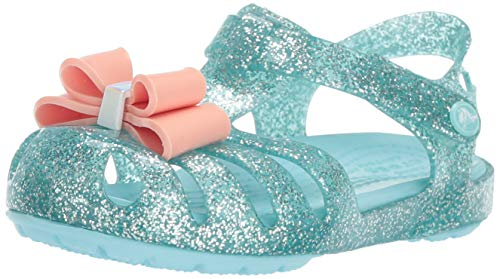 Crocs Girls' Isabella Bow Sandal K Flat, ice Blue 5 M US Toddler ()
